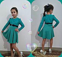 Платье детское нарядное из трикотажа и гипюра P5694