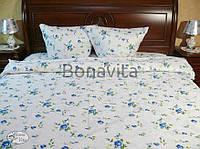 Постельное белье в синие розочки 100 % хлопок двуспальное