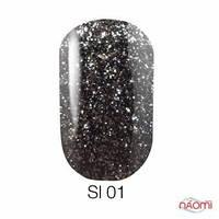 Гель-лак Naomi Self Illuminated SI 01, 6 мл черный с блестками и слюдой, плотный