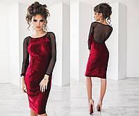 Изумительное велюровое платье  с сеточкой