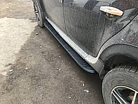 Renault Duster 2008+ гг. Боковые площадки Tayga V1 Black (2 шт., алюминий)