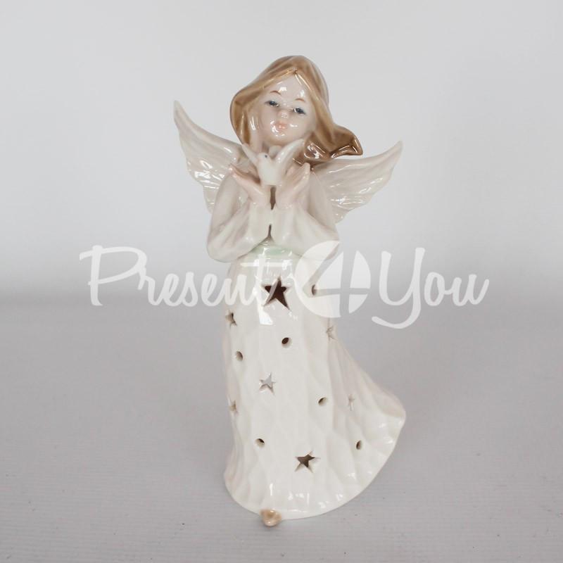 Подсвечник «Ангел с голубем», h-19 см