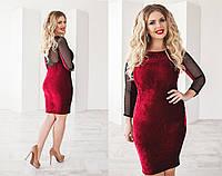 Изумительное велюровое платье  с сеточкой   48+