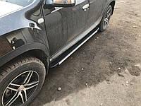 Renault Duster 2008+ гг. Боковые площадки Maya V1 (2 шт., алюминий)