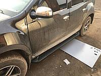 Renault Duster 2008+ гг. Боковые площадки Allmond Black (2 шт., алюминий)
