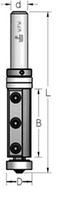 Фреза обгонная со сменными ножами с верхним и нижним подшипниками, хвостовик 12 мм, В = 50 мм.