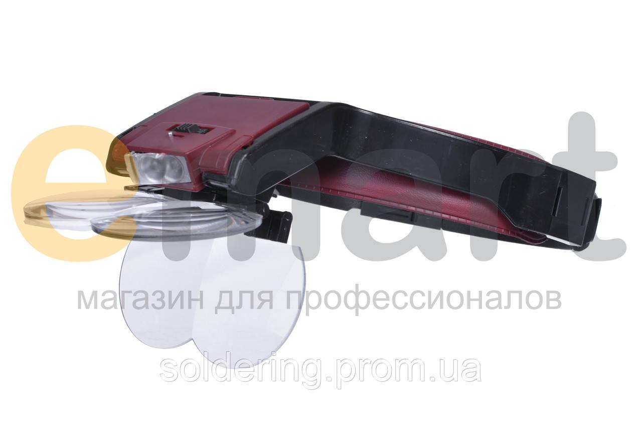 Бинокулярная лупа с LED подсветкой 1.7 — 6X увеличения Magnifier 81001-B