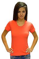 Футболка женская  летняя для спорта без рисунка с коротким рукавом хлопок коралловая стрейч (Украина)