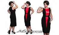 Изысканное платье миди со вставкой из эко-кожи 48+