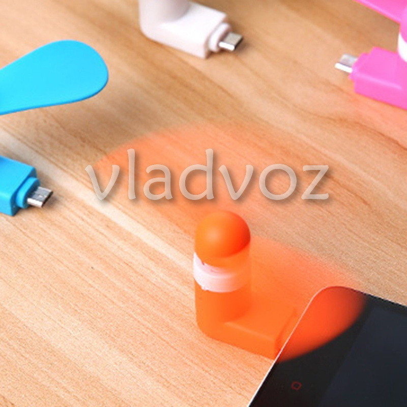 Мини вентилятор micro USB для смартфона, телефона, планшета повербанка оранжевыйй