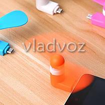 Мини вентилятор micro USB для смартфона, телефона, планшета повербанка оранжевый, фото 2