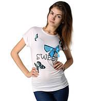 Футболка женская с бабочками белая, фото 1