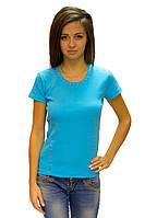Голубая футболка женская спортивная на лето без рисунка с коротким рукавом хлопок стрейч трикотажная (Украина)