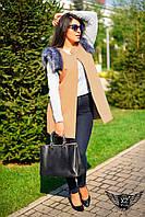 Женская жилетка с  карманами и мехом большого размера красная бежевая фиолетовая шоколадная