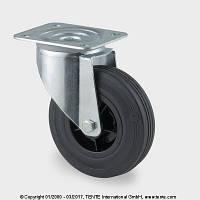 Поворотный ролик полипропилен/черная резина 80мм