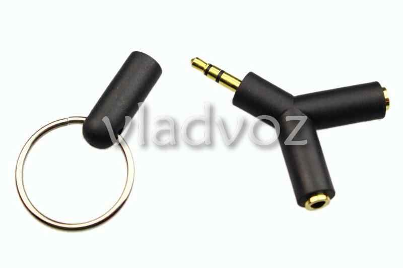Стерео адаптер на 2 наушники разветвитель AUX папа-2мама jack 3.5 мм черный