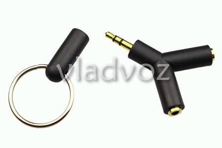 Стерео адаптер на 2 наушники разветвитель AUX папа-2мама jack 3.5 мм черный, фото 2