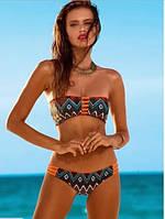 Не стандартный красочный женский купальник с орнаментом. Двухсторонний. Качественный. Дешево.  Код: КГ751