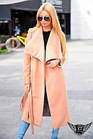 Женское длинное кашемировое пальто черное или цвета пудра