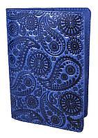 """Обложка для паспорта VIP (хамелеон синий) тиснение """"Турецкий орнамент"""", фото 1"""