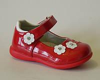 Польские туфли для девочек Clibee с кожаной ортопедической стелькой р.20,21,23,24,25 красные, маломерят