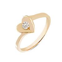 Золотое кольцо сердце с бриллиантом 0.15 карат