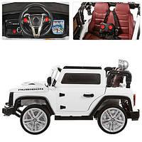 Детский электромобиль джип Hummer M 3286 EBLR-1 белый, кожаное сиденье и мягкие колеса