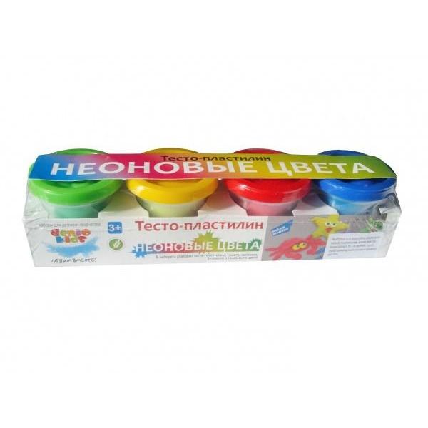 Тесто-пластилин Неоновые цвета 4 цвета по 50г