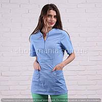 Медицинская куртка женская котоновая Graciya 40-56р (голубой)