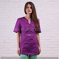 Медицинская куртка женская котоновая Graciya 40-56р (виноград)