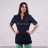 Медицинская женская блуза темно-синего цвета SM 1005-3 коттон Graciya