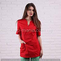 Медицинская блуза женская котоновая красного цвета Graciya (40-56р)
