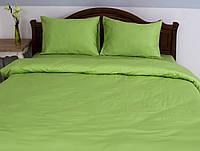 Постельное белье евро-макси Зеленый 240х260см Сатин однотонное Lotus