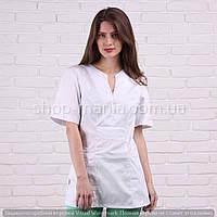 Медицинская блуза женская котоновая белого цвета Грация (40-56р)