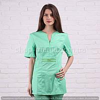 Медицинская куртка женская с коротким рукавом котоновая Graciya (40-56р)
