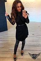 Женский кардиган  с кожей (экокожей) черный