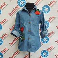 Рубашка джинсовая с вишитыми цветами на девочку HAPPY STAR, фото 1