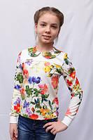 Модная детская белая кофта с цветочным принтом