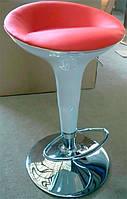 Барный стул-табурет хромированный Марио белое глянцевое пластиковое сиденье с красным кожзамом внутри