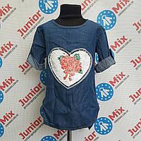 Джинсовая туника на девочку с вышитым сердцем ИТАЛИЯ, фото 1