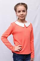 Модная оранжевая детская кофта с оригинальной спинкой и воротником