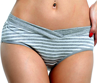 Трусики для беременных и кормящих мам серая полоска