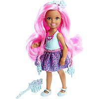 BARBIE Endless Hair Kingdom Chelsea (Барби Челси серии Сказочно-длинные волосы, в голубом Mattel DKB55)