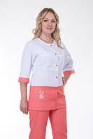 Модный двухцветный медицинский костюм, белый с персиковымдителя