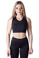 Женский топ черный для занятие спортом DARK ACTIVE W1