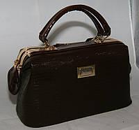 Коричневая каркасная женская сумка-саквояж B.Elit с текстурой рептилии, фото 1