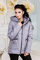 Женская демисезонная серая куртка В-925 Лаке Тон 570 44-48, 52-58 размер