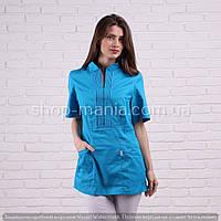 Женская медицинская блуза синего цвета SM 1005-10 коттон Грация