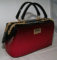 Лаковая каркасная женская сумка-саквояж B.Elit, чёрно-красного цвета