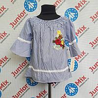 Блузка на девочку в полоску и с вышивкой  ule Kida